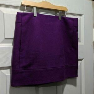 J Crew Double Serge Mini skirt plum purple wool 2